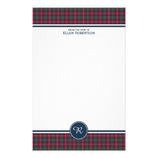 Robertson Clan Tartan Scottish Plaid Monogram Personalized Stationery