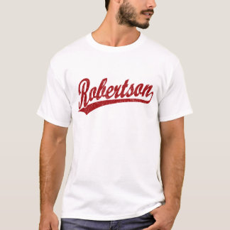 Robertson script logo in red distressed T-Shirt