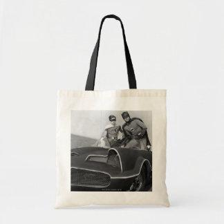 Robin and Batman Standing in Batmobile Budget Tote Bag