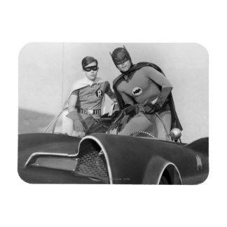 Robin and Batman Standing in Batmobile Rectangular Photo Magnet