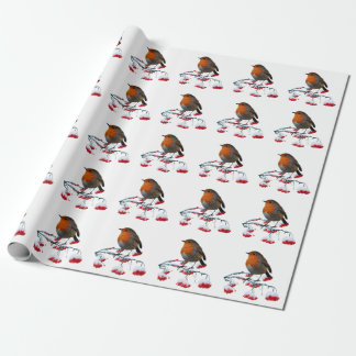 Robin and red frosted berries wrapping paper