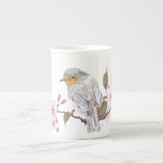 Robin art design china mug