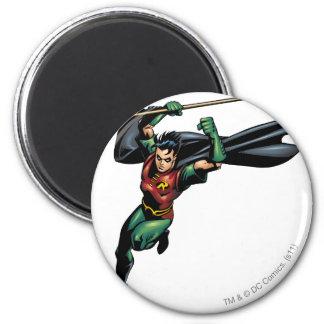 Robin avec le personnel - sauts magnet rond 8 cm