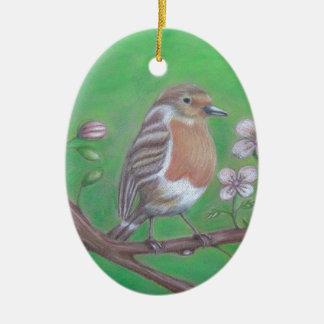 Robin Bird Ceramic Oval Ornament