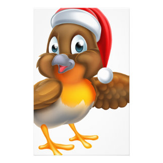 Robin Bird Christmas Cartoon Stationery Design