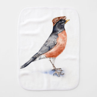 Robin Bird in Hat Burp Cloth