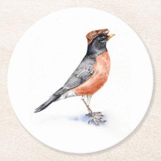 Robin Bird in Hat Round Paper Coaster