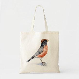Robin Bird in Hat Tote Bag