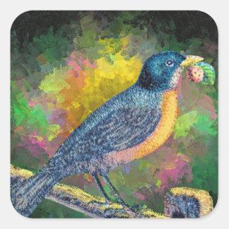 Robin Bird Nature Abstract Art, Glossy Stickers