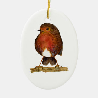 Robin Bird Watercolor Painting Artwork Ceramic Ornament