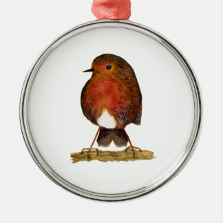 Robin Bird Watercolor Painting Artwork Metal Ornament