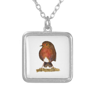 Robin Bird Watercolor Painting Artwork Silver Plated Necklace