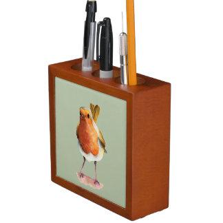 Robin Bird Watercolor Painting Desk Organizer