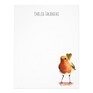 Robin Bird Watercolor Painting Letterhead