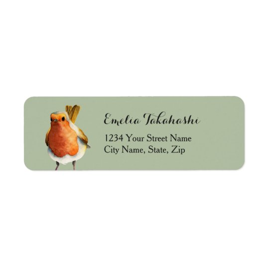 Robin Bird Watercolor Painting Return Address Label