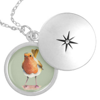 Robin Bird Watercolor Painting Silver Plated Necklace