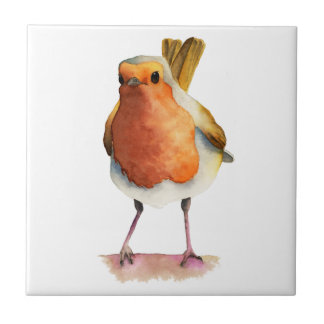 Robin Bird Watercolor Painting Tile