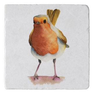 Robin Bird Watercolor Painting Trivet