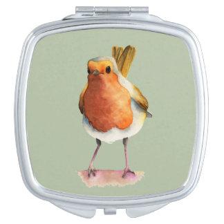 Robin Bird Watercolor Painting Vanity Mirror