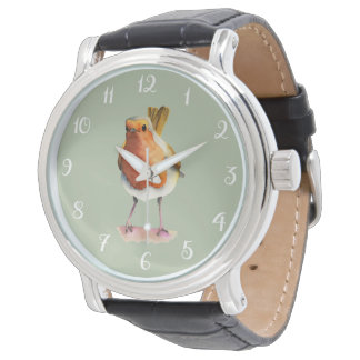 Robin Bird Watercolor Painting Watch