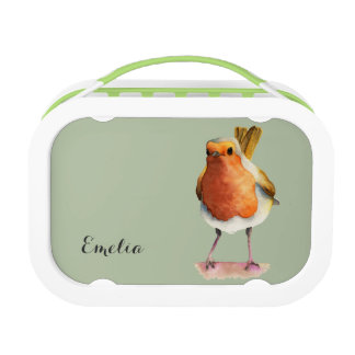 Robin Bird Watercolor Painting with Name Lunch Box