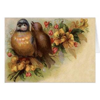 Robin Bird Yellow Red Flower Card
