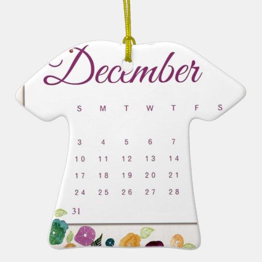 Robin Calendar Ceramic Ornament