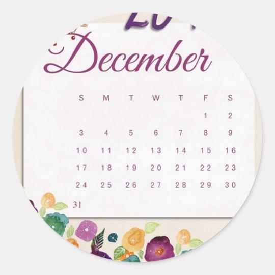 Robin Calendar Classic Round Sticker
