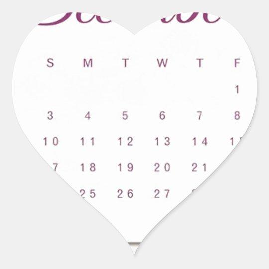 Robin Calendar Heart Sticker