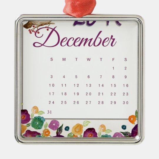 Robin Calendar Metal Ornament
