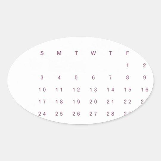 Robin Calendar Oval Sticker
