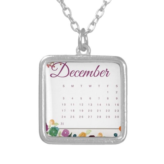 Robin Calendar Silver Plated Necklace