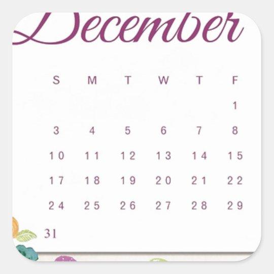 Robin Calendar Square Sticker