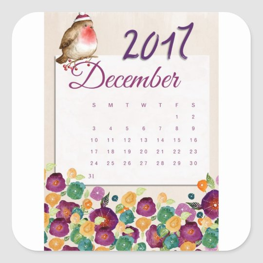 Robin Calendar Square Sticker