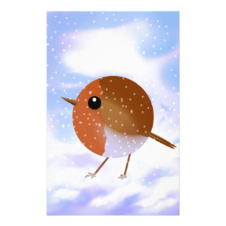 Robin Christmas Snow Scene Stationery Paper