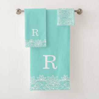 Robin Egg Blue and Lace Monogrammed Bath Towel Set