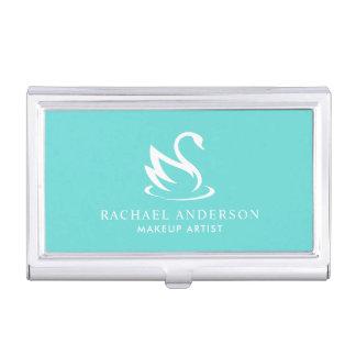 Robin Egg Blue Minimalist Swan Business Card Holder