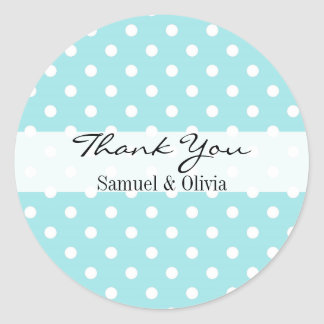 Robin Egg Blue Round Polka Dotted Thank You Classic Round Sticker