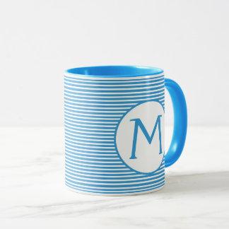 Robin Egg Blue Stripe Monogram Mug