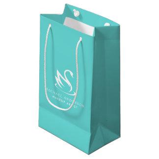 Robin Egg Blue Swan Logo with Name Small Gift Bag