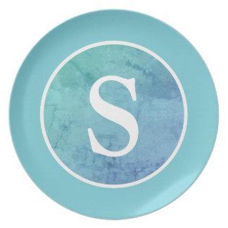 Robin Egg Blue Vintage Circle & Monogram Party Plates
