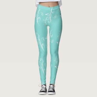 Robin Egg Blue with White Flourish Leggings