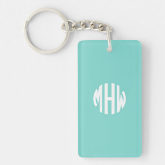Robin Egg White 3 Initials in a Circle Monogram Acrylic Keychains