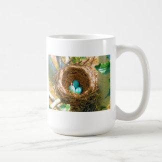 Robin Eggs in a Backyard Tree Nest Classic White Coffee Mug