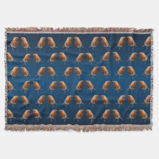 Robin Frenzy Throw Blanket (Navy/Blue Mix)