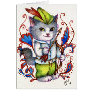Robin Hood - Cute Cat Greeting Card