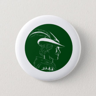 Robin Hood Side Profile Circle Woodcut 2 Inch Round Button