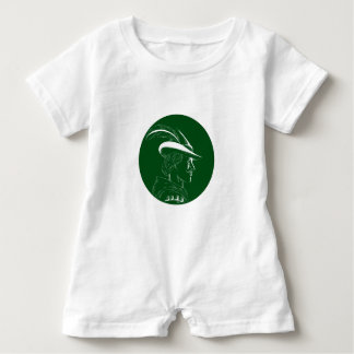 Robin Hood Side Profile Circle Woodcut Baby Romper