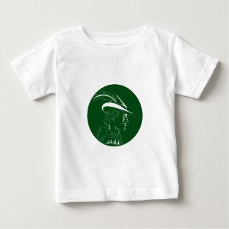 Robin Hood Side Profile Circle Woodcut Baby T-Shirt