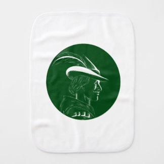 Robin Hood Side Profile Circle Woodcut Burp Cloth